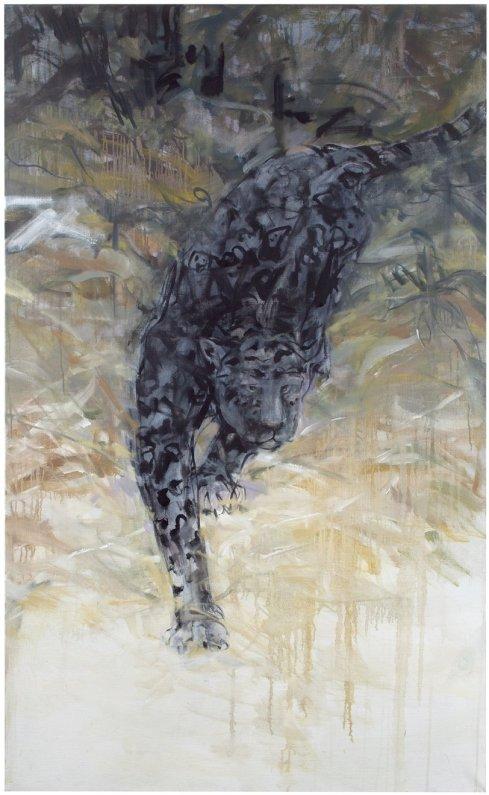 Sirkka-Liisa Lonka: Yöjalassa, 2012 (tempera ja öljy kankaalle, 140 x 86 cm)